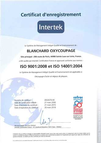 Certification INTERTEK ISO9001FR